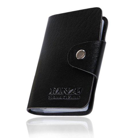 Trendy Solid Color and Button Design Card Case For Men - BLACK