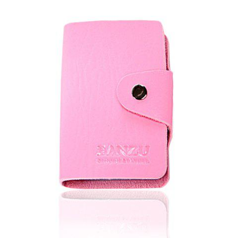Trendy Solid Color and Button Design Card Case For Men - PINK