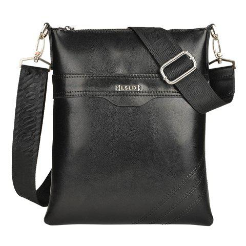 Casual Zipper and Black Design Messenger Bag For Men - BLACK
