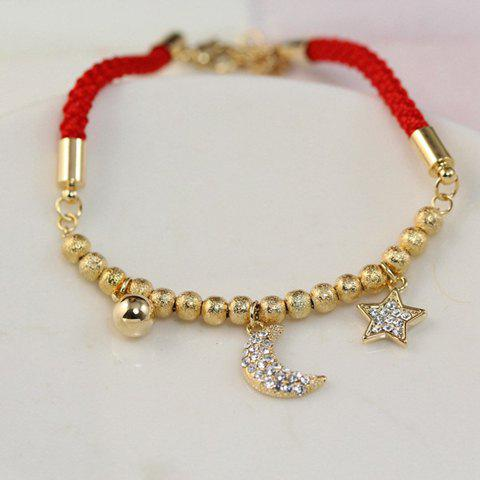 Star Moon Rhinestone Bracelet - GOLDEN