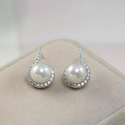 Pair of Rhinestone Faux Pearl Design Stud Earrings - WHITE