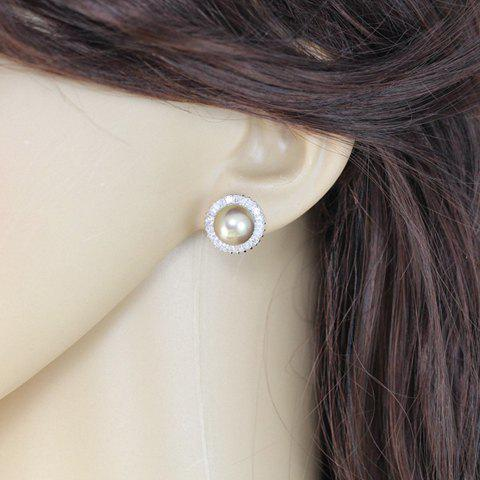 Pair of Fashionable Chic Women's Rhinestone Faux Pearl Round Design Earrings