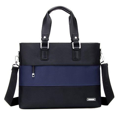 Fashionable Color Block and Zipper Design Briefcase For Men - BLUE/BLACK