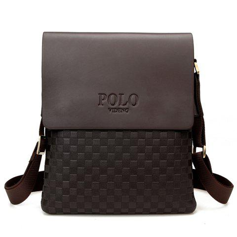 Trendy PU Leather and Checked Design Men's Messenger Bag