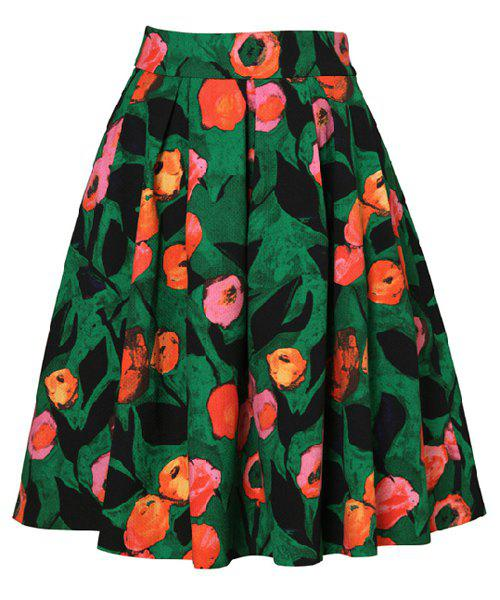 Floral Print Contrast Color Zipper Fly Retro Style Skirt For Women - COLORMIX S