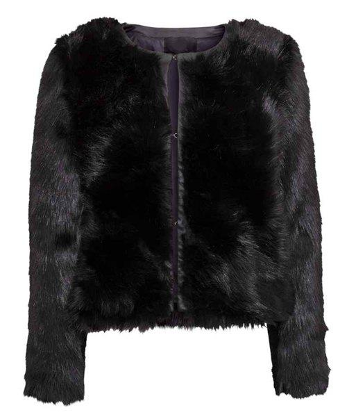 Round Neck Faux Fur Solid Color Stunning Style Long Sleeve Coat For Women - BLACK 2XL