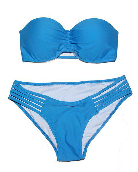 Sexy Solid Color Strapless Bikini Set For Women - BLUE S