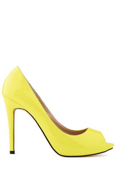Graceful Patent Leather and Sexy High Heel Design Women's Peep Toed Shoes - DAFFODIL 40