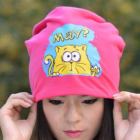 Chic Cartoon Kitten Pattern Hat For Women - COLOR ASSORTED