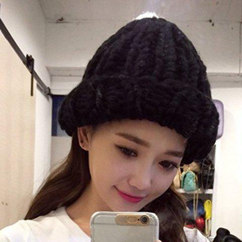 Chic Solid Color Kink Design Women's Knitted Hat - BLACK