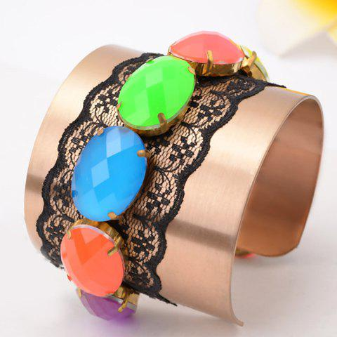 Fashion Candy Color Rhinestone Embellished Cuff Bracelet For Women
