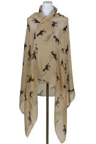 Chic Solid Color Horse Print Voile Pashmina For Women - CAMEL