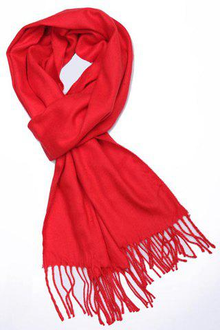 Chic Tassel Embellished Red Color Scarf For Women
