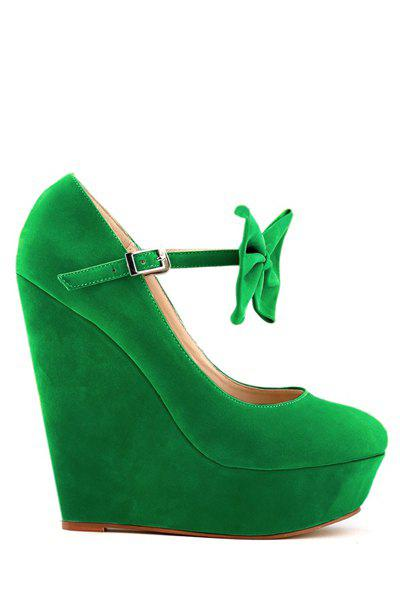 Sweet Suede and Bowknot Design Women's Pumps - GREEN 40