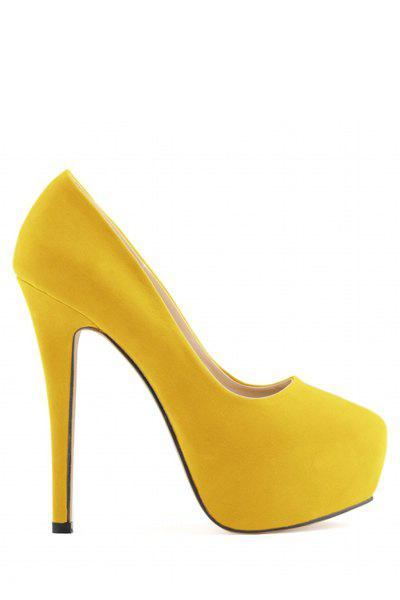 Stylish Suede and Platform Design Women's Pumps - YELLOW 39