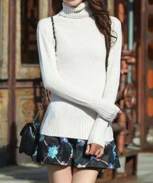 Turtle Neck Slimming Solid Color Casual Style Long Sleeve Sweater For Women - WHITE ONE SIZE(FIT SIZE XS TO M)