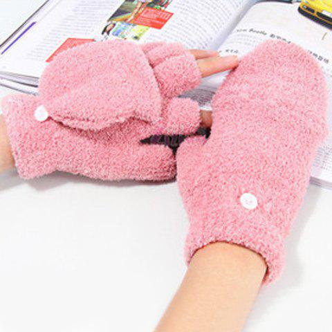 Pair of Cute Exposed Fingers Design Solid Color Downy Gloves For Women
