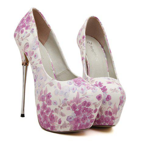 Gorgeous Flowers Pattern and Sexy High Heel Design Pumps For Women - WHITE/PURPLE 37