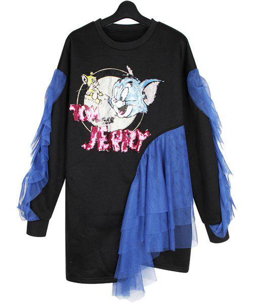 Round Neck Cartoon Sequins Pattern Voile Splicing Casual Style Long Sleeve Sweatshirt For Women - BLACK ONE SIZE(FIT SIZE XS TO M)