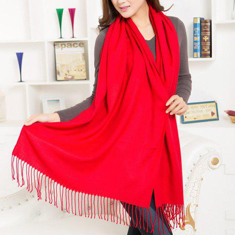 Chic Faux Woolen Red Color Design Tassel Women's Scarf