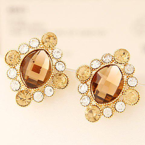Pair of Stunning Faux Gemstone Earrings For Women - CHAMPAGNE