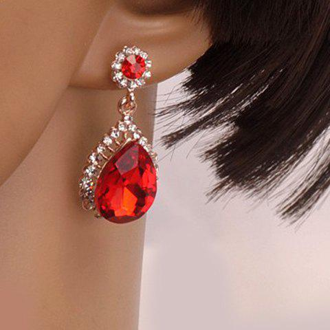 Pair of Rhinestone Faux Gem Teardrop Shape Earrings - RED
