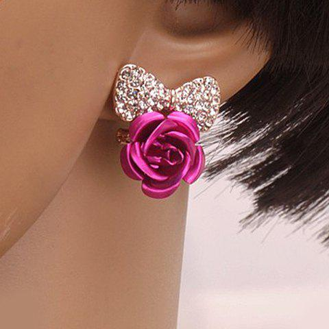 Pair of Chic Stylish Women's Rhinestone Bowknot Flower Shape Design Earrings -  ROSE MADDER