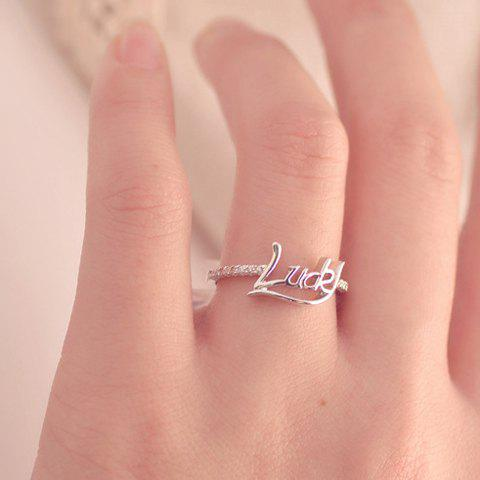 Stylish Chic Women's Rhinestone Letter Design Ring - SILVER ONE SIZE(FIT SIZE XS TO M)