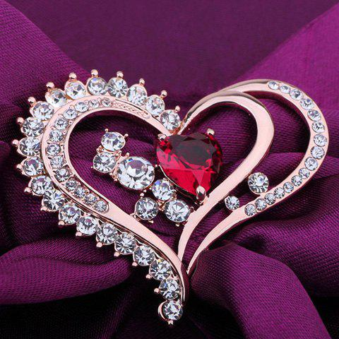 Rhinestone Faux Crystal Heart Shape Brooch - ROSE GOLD