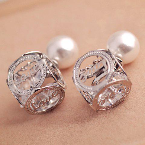 Pair of Delicate Classic Women's Openwork Letter Faux Pearl Design Earrings