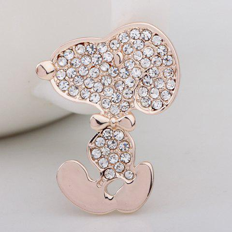 Rhinestone Embellished Cartoon Sculpt Shape Brooch - ROSE GOLD