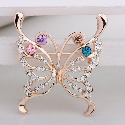 Elegant Colorful Rhinestone Embellished Butterfly Shape Brooch For Women