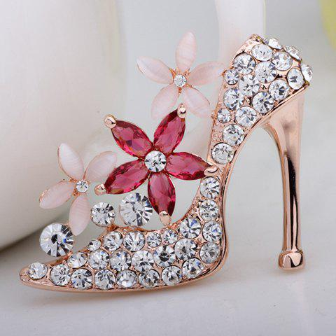 Flower Rhinestone Embellished High-Heeled Shoe Shape Brooch - COLORMIX