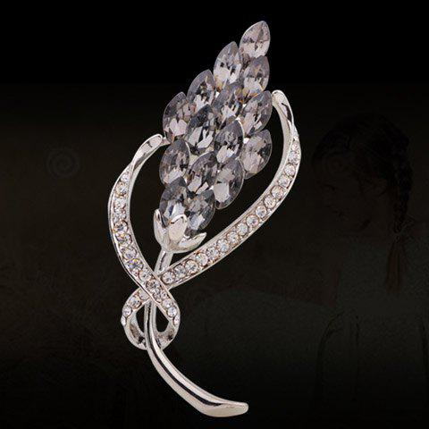 Chic Faux Crystal Rhinestone Embellished Special Shape Brooch For Women - GRAY
