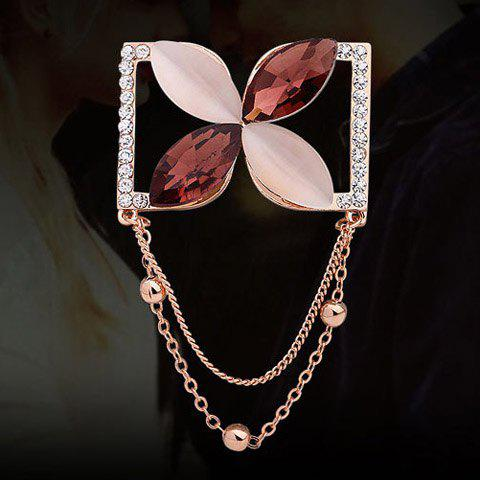 Chic Faux Crystal Rhinestone Chain Pendant Embellished Brooch For Women - COLORMIX