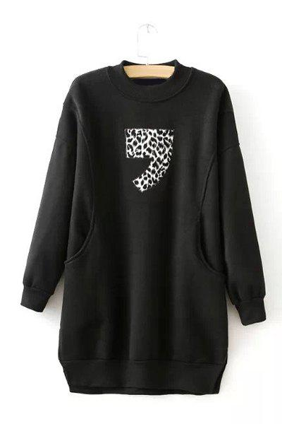 Round Neck Figure Leopard Pattern Pockets Casual Style Long Sleeve Sweatshirt For Women - BLACK ONE SIZE(FIT SIZE XS TO M)