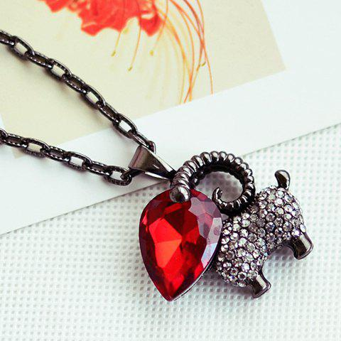 Chic Fashionable Women's Rhinestone Faux Gem Animal Design Sweater Chain Necklace - RED