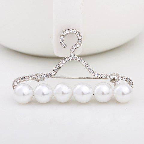 Stylish Women's Rhinestone Faux Pearl Hanger Shape Brooch
