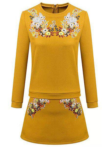 Casual Style Floral Embroidery Round Neck Long Sleeve Blouse + Skirt For Women - YELLOW L