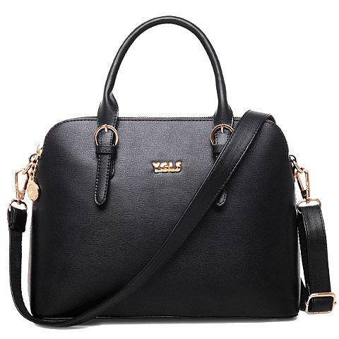 Retro Solid Color and Buckle Design Tote Bag For Women - BLACK