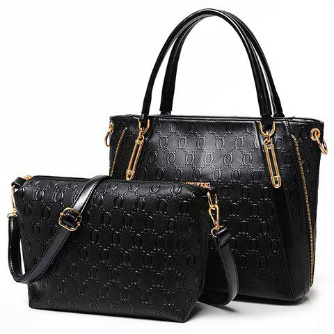 Graceful Metallic and Embossing Design Tote Bag For Women - BLACK