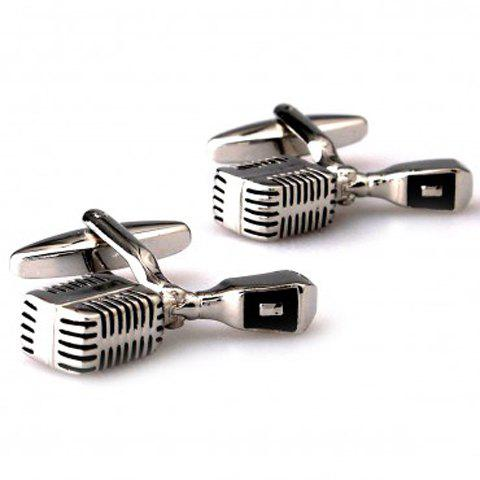 Pair of Chic Microphone Shape Men's Alloy Cufflinks - SILVER