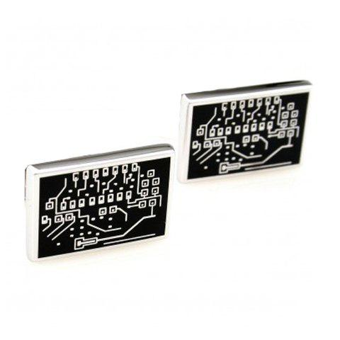Pair of Chic Circuit Board Shape Men's Alloy Cufflinks - BLACK