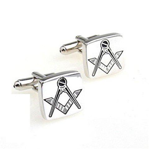 Pair of Chic Measuring Tool Design Men's Alloy Cufflinks - SILVER