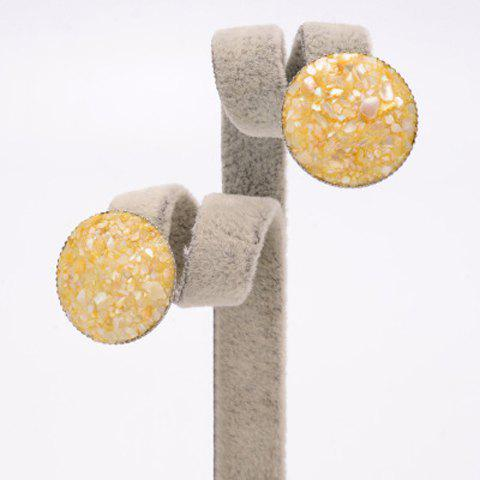 Pair of Stylish Women's Colored Beads Round Earrings - YELLOW