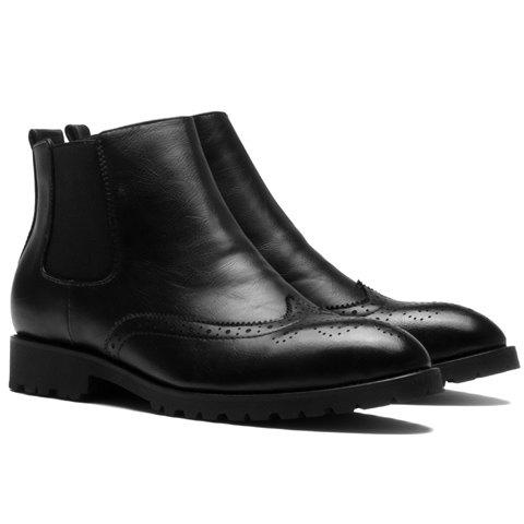 Retro Round Toe and Engraving Design Boots For Men - BLACK 44