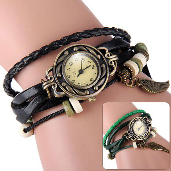 E048 Retro Quartz Watch Wing Round Dial Weave Wrap around Leather Strap for Women