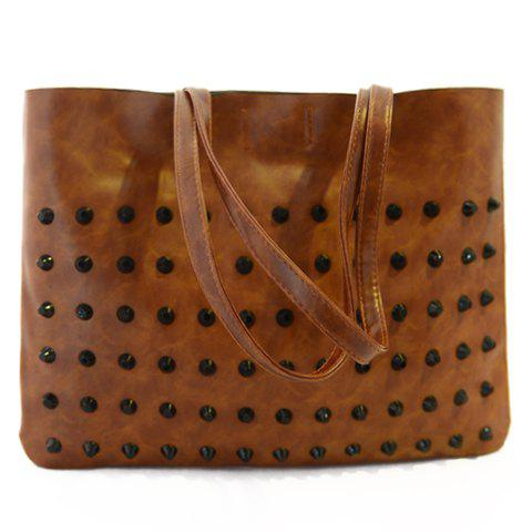 Stylish PU Leather and Rivets Design Shoulder Bag For Women - LIGHT BROWN