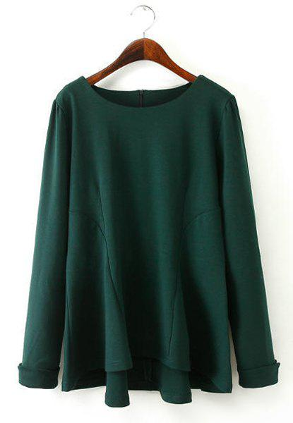 Round Neck Asymmetrical Solid Color Splicing Casual Style Long Sleeve T-Shirt For Women - BLACKISH GREEN 2XL