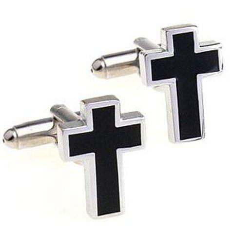 Pair of Chic Black Cross Shape Men's Alloy Cufflinks - BLACK